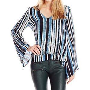 Parker Rita top 100% silk black blue striped xs